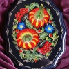 "Acrylic wooden plate 8"" x 10"" Flowers and Berries"